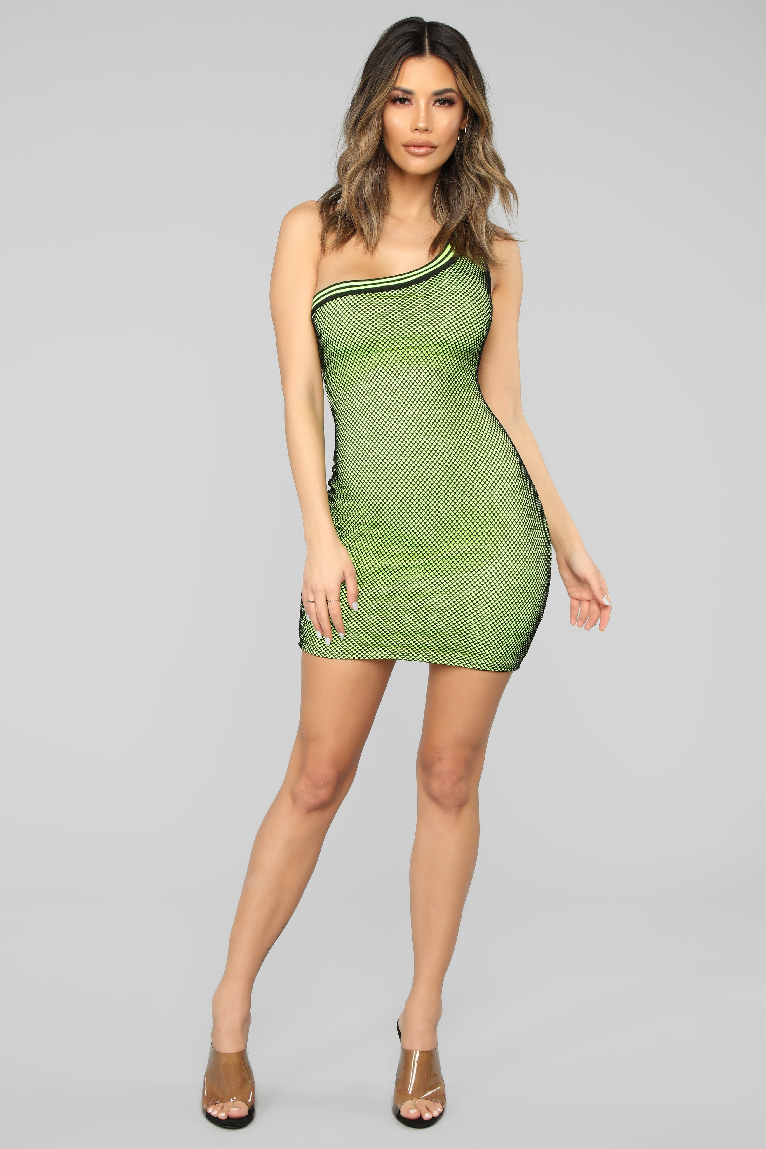 f890133fbcd Sexy For Sport One Shoulder Mini Dress - Neon Yellow