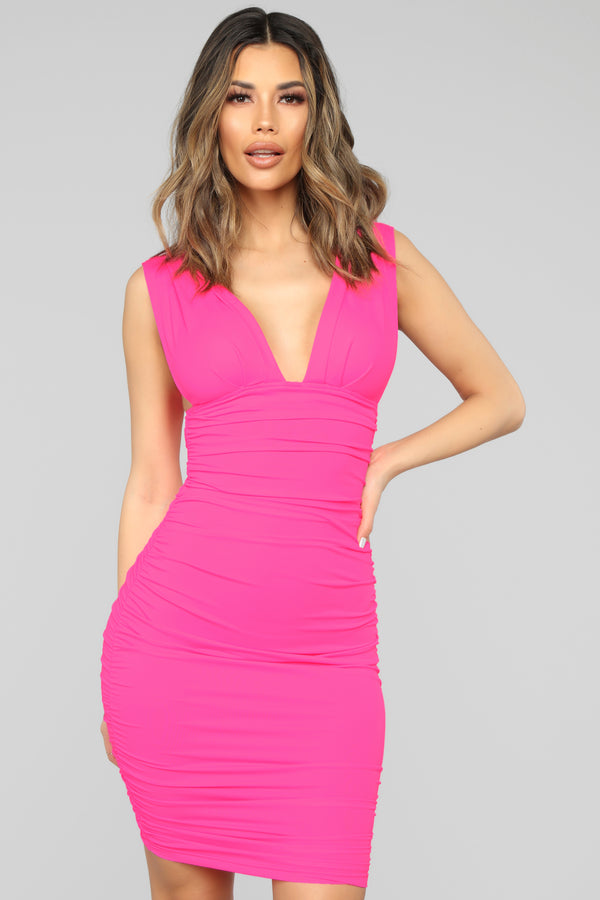 c30b8ee843 Glow On My Own Ruched Dress - Hot Pink