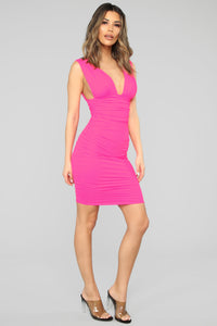 Glow On My Own Ruched Dress - Hot Pink Angle 3