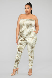 Peace Out Tie Dye Jumpsuit - Olive Angle 5