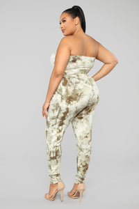 Peace Out Tie Dye Jumpsuit - Olive Angle 8