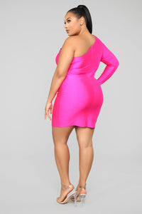 Attract A Crowd One Shoulder Dress - Fuchsia