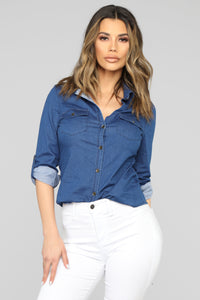 Come On Button Down Denim Shirt - Medium Wash Angle 1