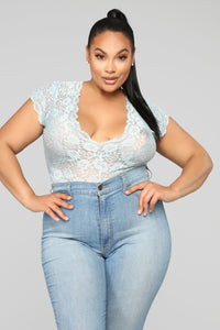Seven Days A Week Lace Bodysuit - Blue Angle 8