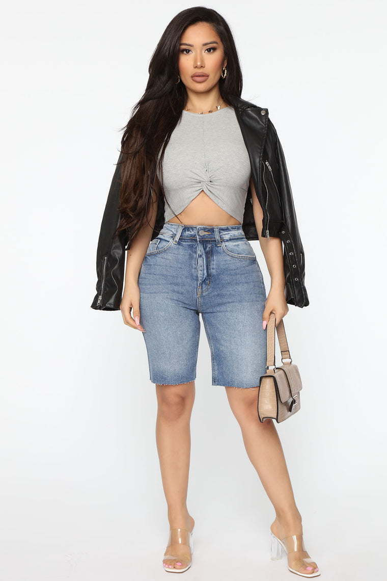 Twisted Ribbed Crop Top - Heather Grey