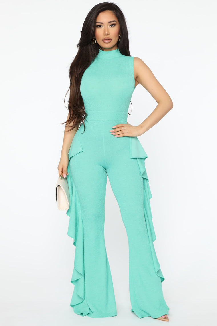 Ruffle The Night Away Jumpsuit - Green