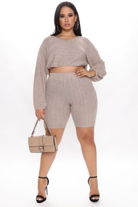 Best Of All Biker Short Set - Taupe Angle 4