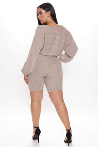 Best Of All Biker Short Set - Taupe Angle 6