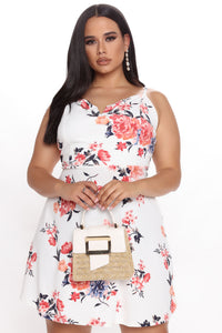 Your Girl Floral Mini Dress - Cream/combo Angle 1