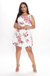 Your Girl Floral Mini Dress - Cream/combo Angle 3