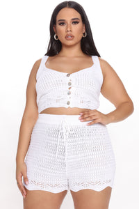 Hanging Out Crochet Short Set - White