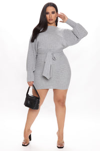 Out For The Day Mini Dress - Heather Grey Angle 5