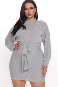 Out For The Day Mini Dress - Heather Grey Angle 4