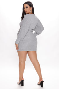 Out For The Day Mini Dress - Heather Grey Angle 6