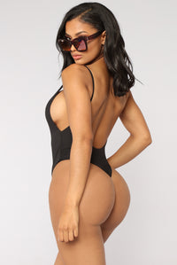 Making An Impact Thong Swimsuit - Black