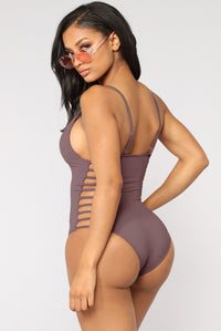 Snake Bite Cut Out Swimsuit - Purple