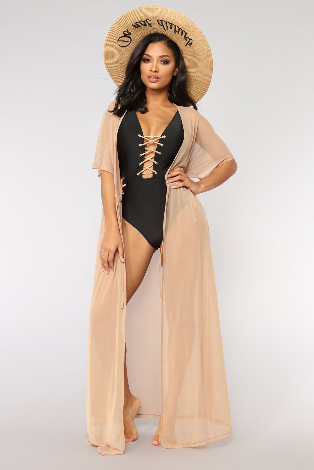 Got It Covered Mesh Cover Up - Nude