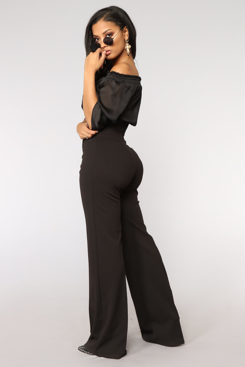 Hot Flash Off Shoulder Bodysuit - Black