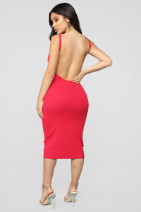 Back Slip Dress - Red