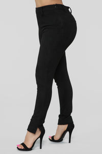 Making It Happen Faux Suede Pants - Black