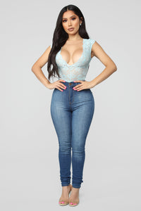 Seven Days A Week Lace Bodysuit - Blue Angle 3