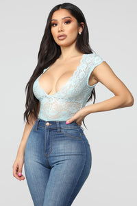 Seven Days A Week Lace Bodysuit - Blue Angle 2