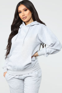 Stole Your Boyfriend's Oversized Hoodie - Heather Grey Angle 1