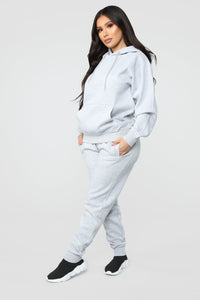 Stole Your Boyfriend's Oversized Hoodie - Heather Grey Angle 4