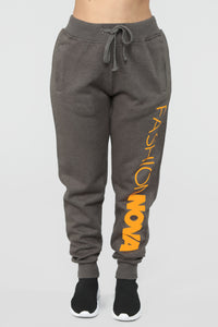 Stole Your Boyfriend's FN Jogger - Charcoal/Neon Orange