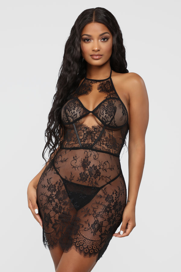 Can I Come Over Lace Babydoll 2 Piece Set - Black cac83ecc2