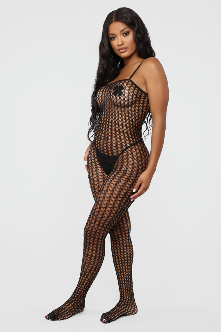 Wild For The Night Fishnet Bodystocking - Black