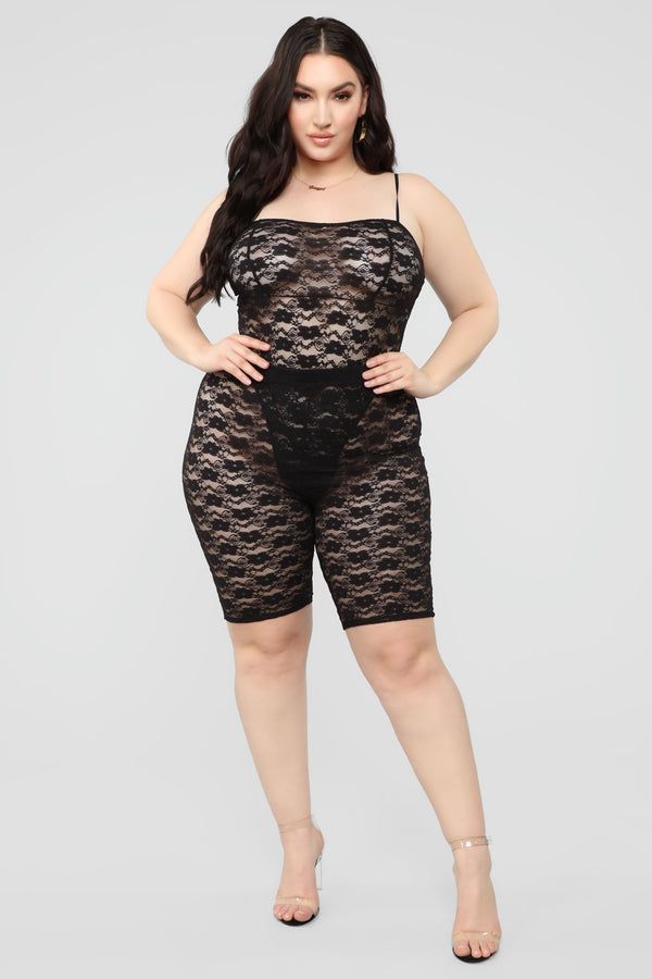 cc4998a3e7a8 Love Lace Biker Short Set - Black