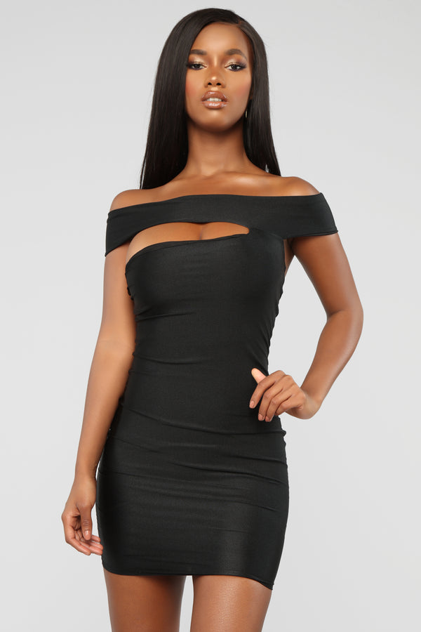 ea62c4d5c2 Cut Me In Off Shoulder Mini Dress - Black