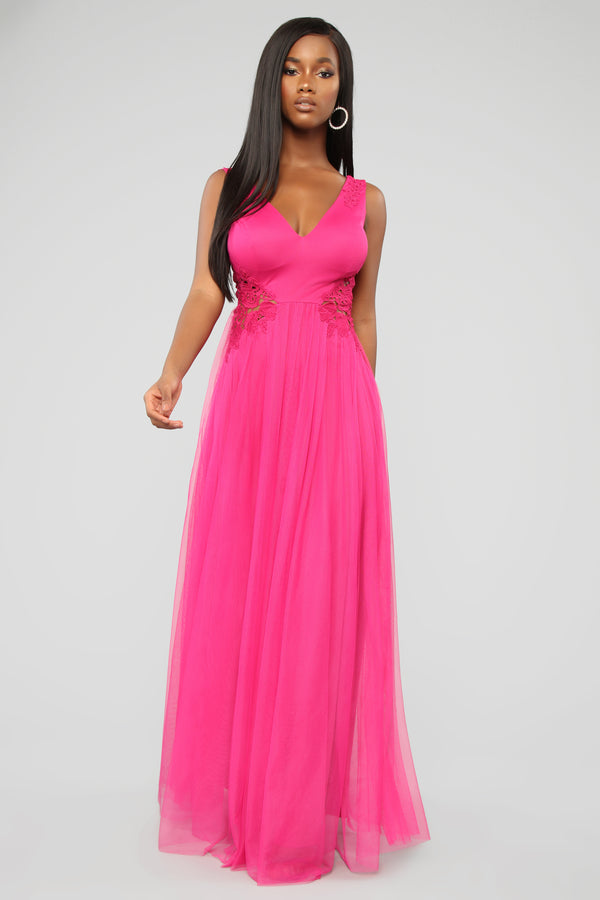 93bf8829b98 The One You Dream Of Mesh Maxi Dress - Fuchsia