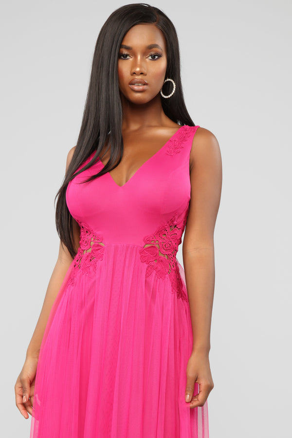 cc7a421500 The One You Dream Of Mesh Maxi Dress - Fuchsia