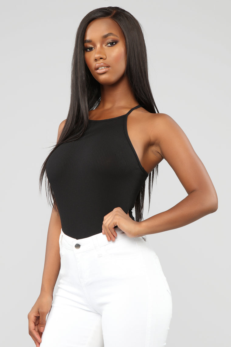 Say Less Halter Bodysuit - Black