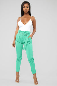 Put In The Work Belted Pants - Green