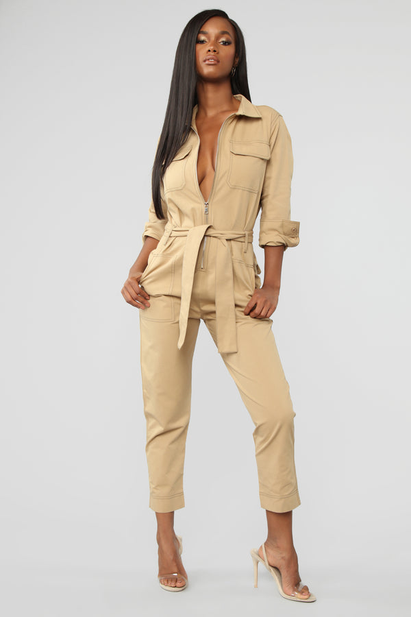 5994f633d4 Get On Board Boiler Jumpsuit - Taupe