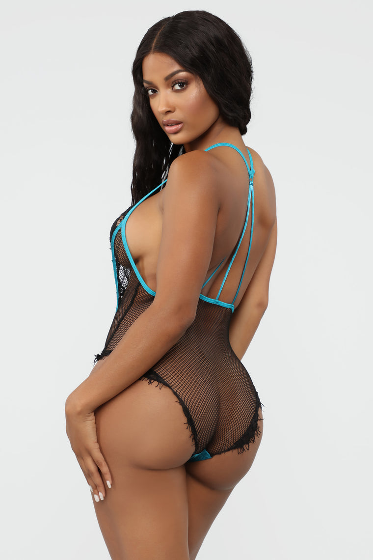 Come A Little Closer Lace Teddy - Blue