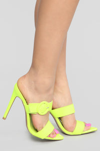 Passing Along Heeled Sandals - Neon Green
