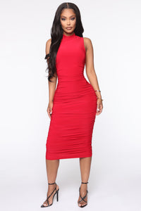 Perfectly Polished Ruched Midi Dress - Red Angle 1