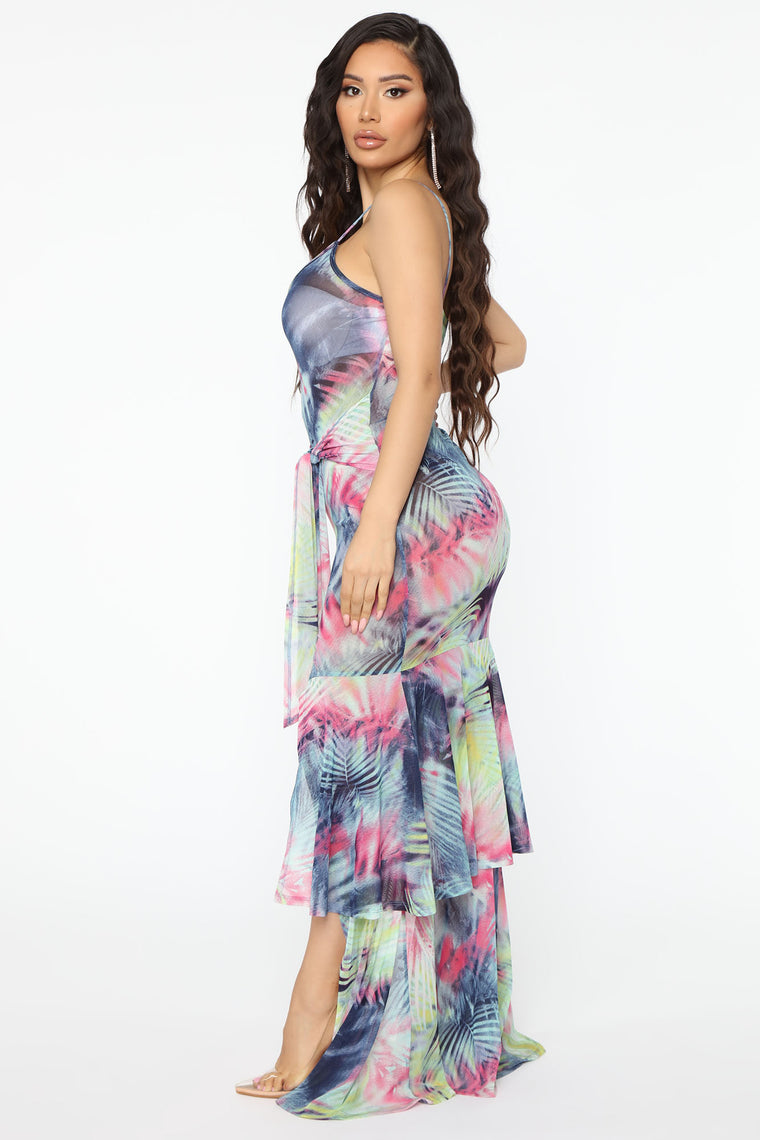 Live In Paradise Tropical Print Maxi Dress - Mint/combo