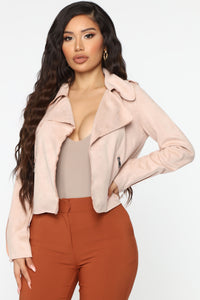 Suede My Way Jacket - Blush Angle 1