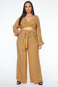 Best Mood Striped Pant Set - Mustard Angle 1