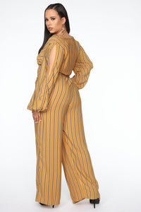 Best Mood Striped Pant Set - Mustard Angle 3