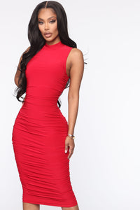 Perfectly Polished Ruched Midi Dress - Red Angle 2
