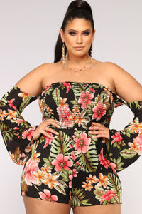 Secret Oasis Tropical Romper - Black Multi Angle 6