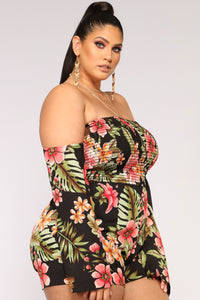 Secret Oasis Tropical Romper - Black Multi Angle 8