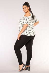 Vikki Polka Dot Top - White