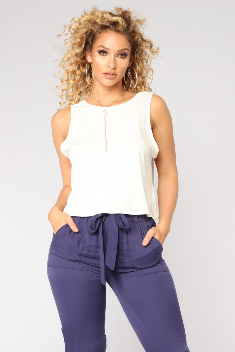 Forever Tie Back Top - Off White